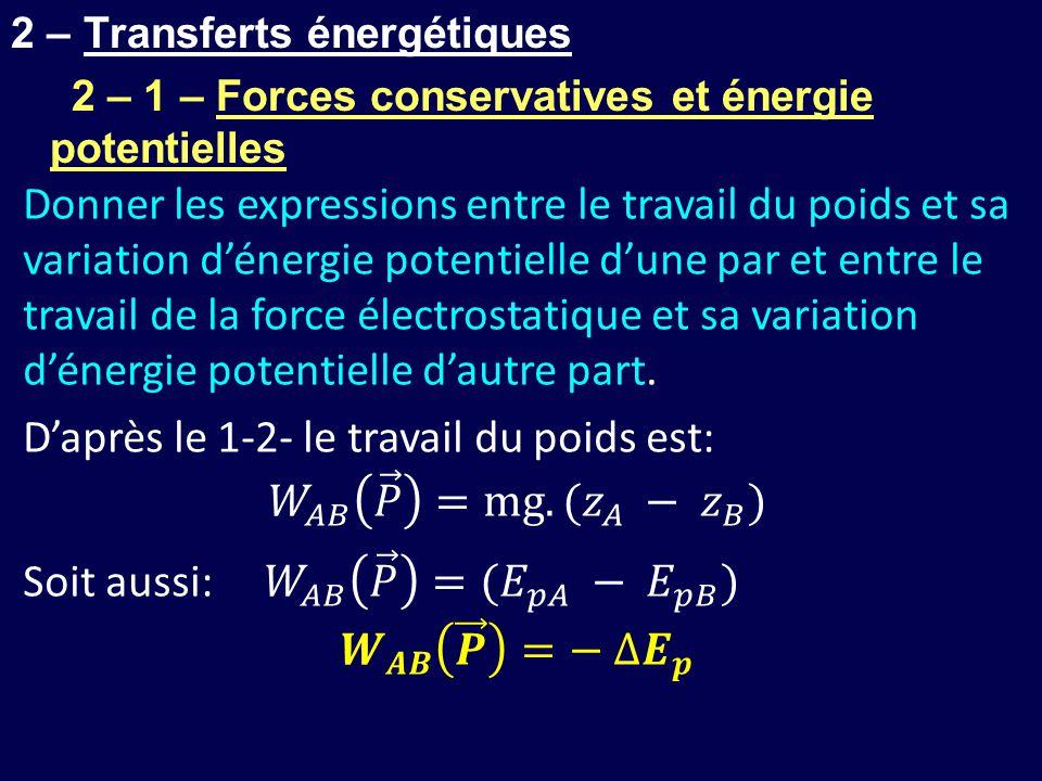 2 – Transferts énergétiques 2 – 1 – Forces conservatives et énergie potentielles