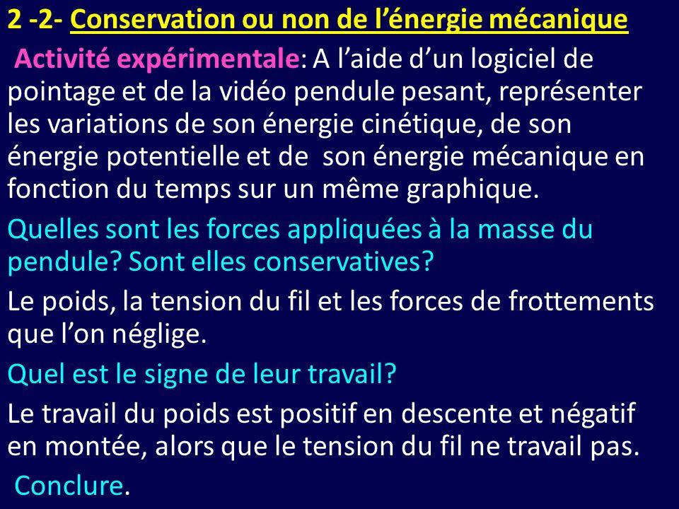 2 -2- Conservation ou non de l'énergie mécanique Activité expérimentale: A l'aide d'un logiciel de pointage et de la vidéo pendule pesant, représenter