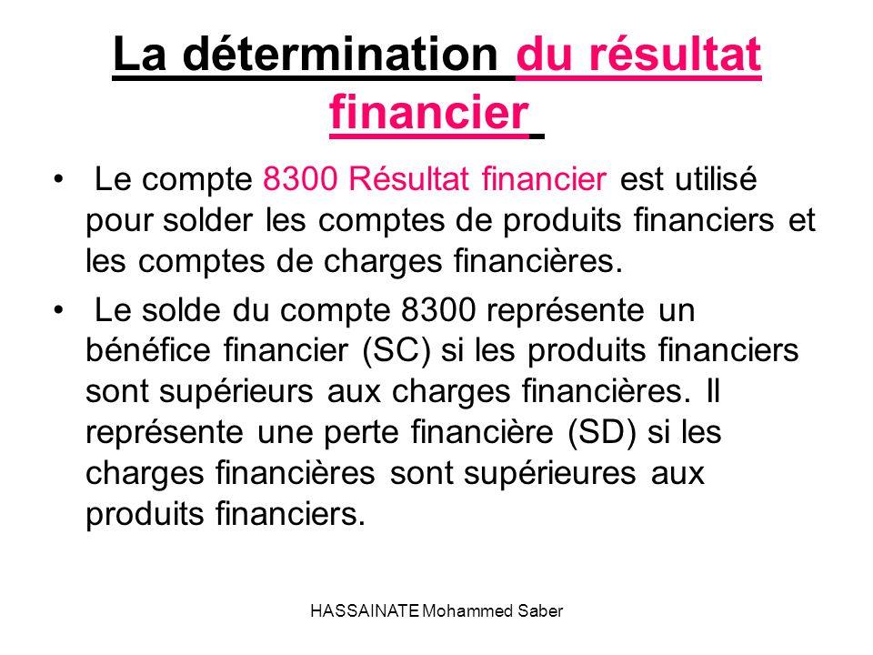 HASSAINATE Mohammed Saber La détermination du résultat financier Le compte 8300 Résultat financier est utilisé pour solder les comptes de produits fin