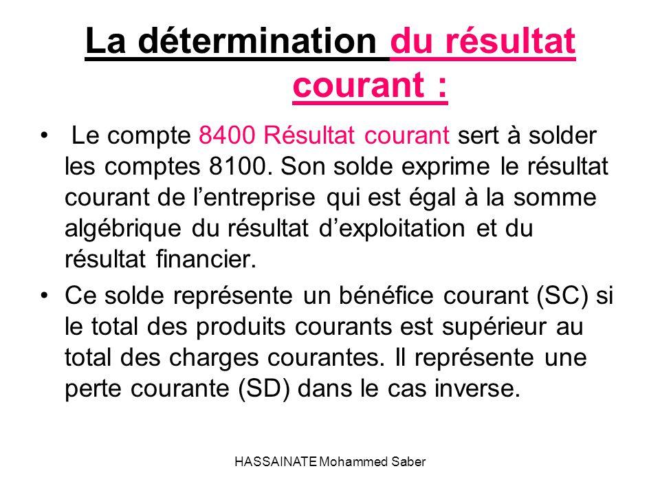 HASSAINATE Mohammed Saber La détermination du résultat courant : Le compte 8400 Résultat courant sert à solder les comptes 8100. Son solde exprime le