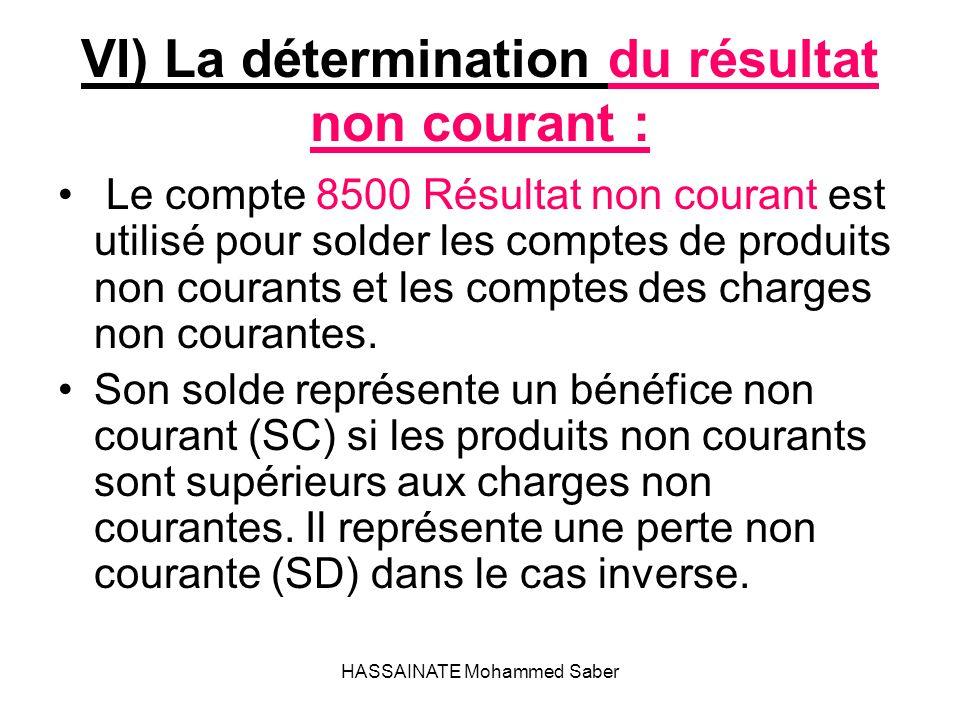 HASSAINATE Mohammed Saber VI) La détermination du résultat non courant : Le compte 8500 Résultat non courant est utilisé pour solder les comptes de pr