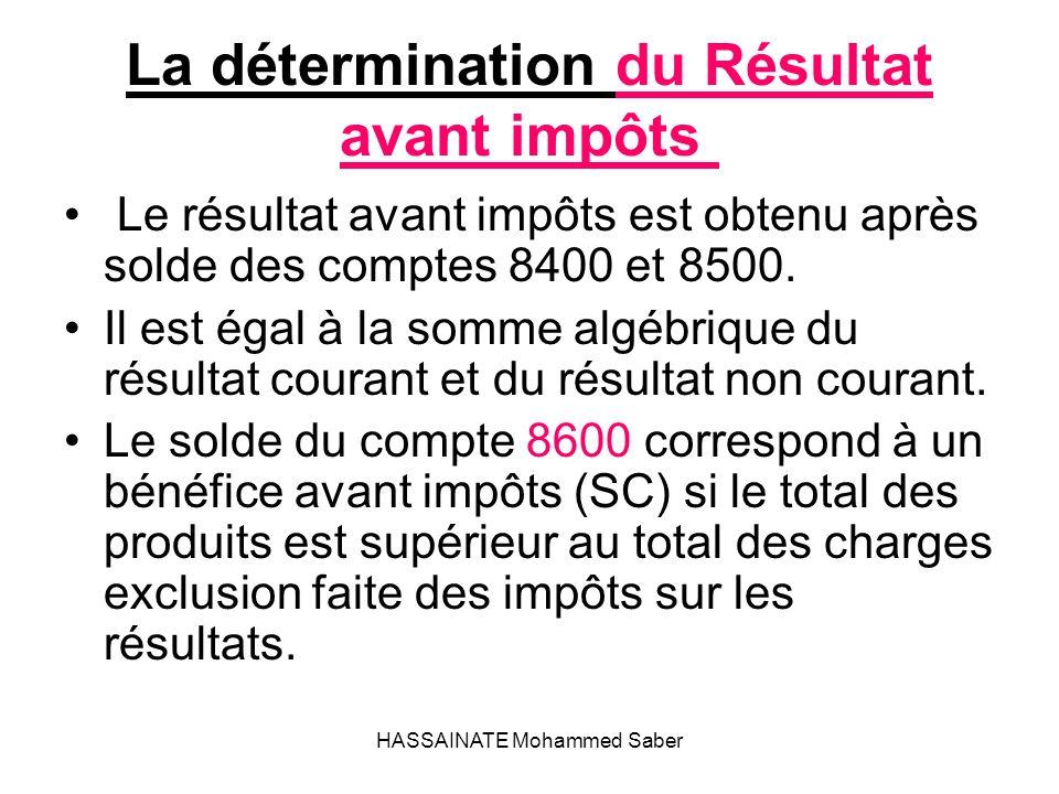 HASSAINATE Mohammed Saber La détermination du Résultat avant impôts Le résultat avant impôts est obtenu après solde des comptes 8400 et 8500. Il est é