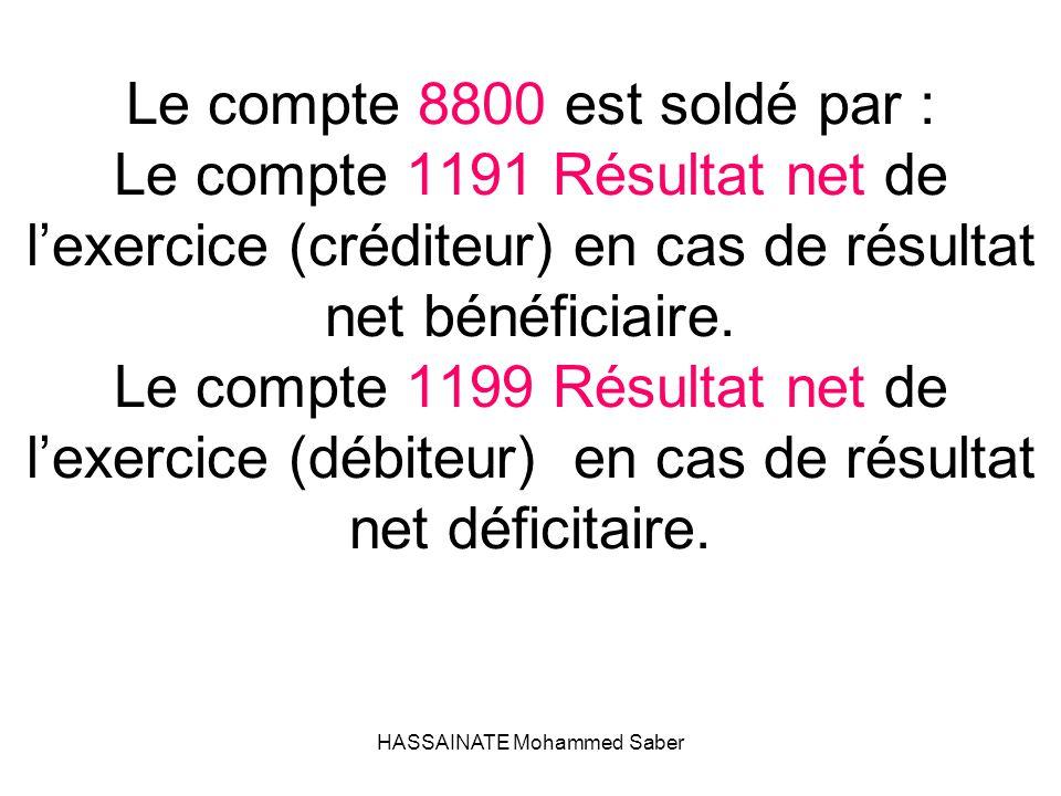 HASSAINATE Mohammed Saber Le compte 8800 est soldé par : Le compte 1191 Résultat net de l'exercice (créditeur) en cas de résultat net bénéficiaire. Le