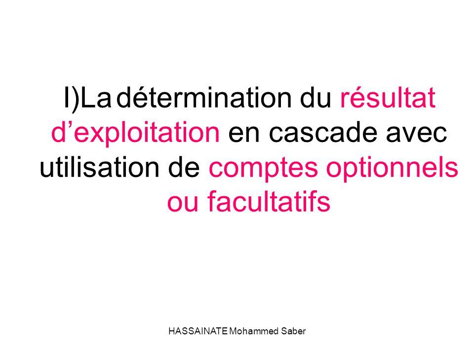 HASSAINATE Mohammed Saber I)La détermination du résultat d'exploitation en cascade avec utilisation de comptes optionnels ou facultatifs