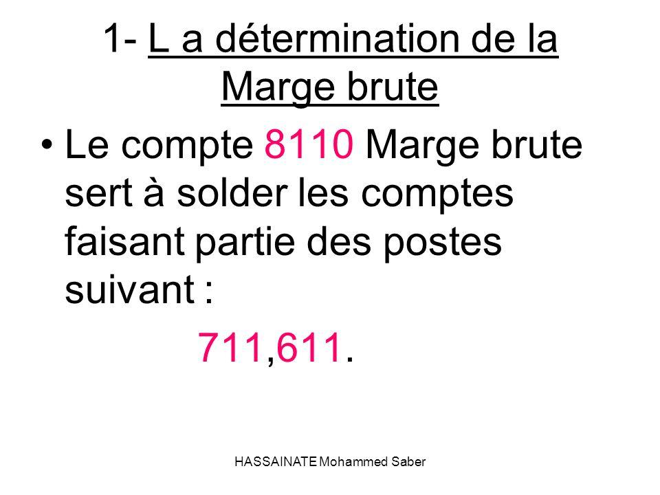 HASSAINATE Mohammed Saber 1- L a détermination de la Marge brute Le compte 8110 Marge brute sert à solder les comptes faisant partie des postes suivan