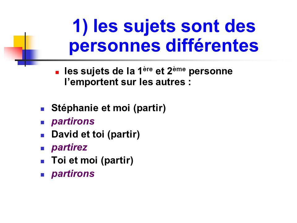 1) les sujets sont des personnes différentes les sujets de la 1 ère et 2 ème personne l'emportent sur les autres : Stéphanie et moi (partir) partirons David et toi (partir) partirez Toi et moi (partir) partirons