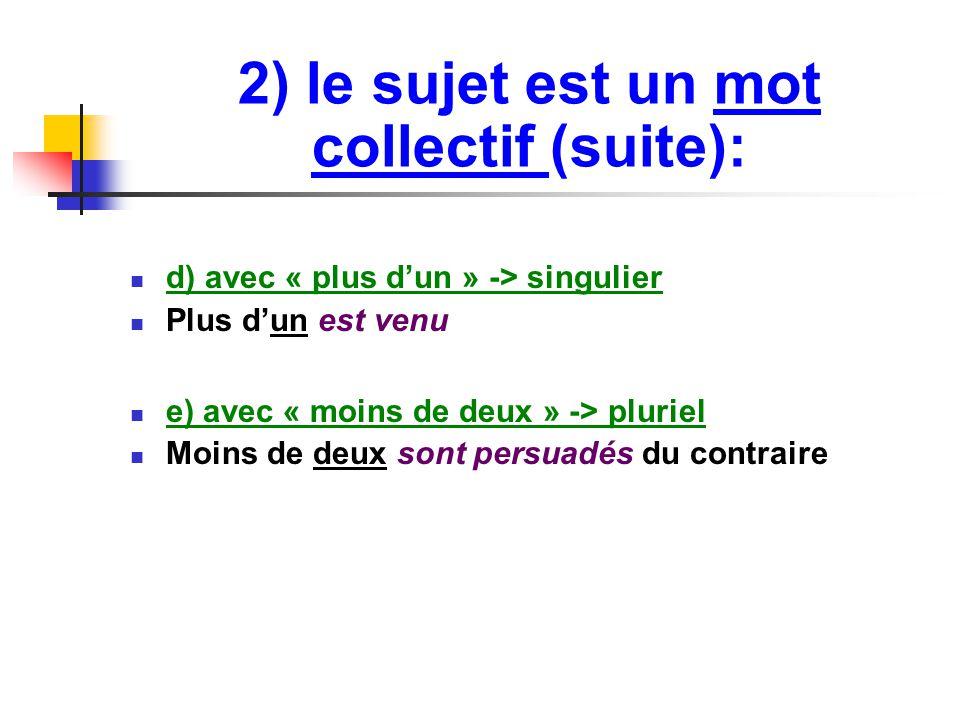 2) le sujet est un mot collectif (suite): d) avec « plus d'un » -> singulier Plus d'un est venu e) avec « moins de deux » -> pluriel Moins de deux sont persuadés du contraire