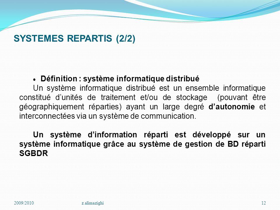 SYSTEMES REPARTIS (2/2) 2009/2010z.alimazighi12  Définition : système informatique distribué Un système informatique distribué est un ensemble inform