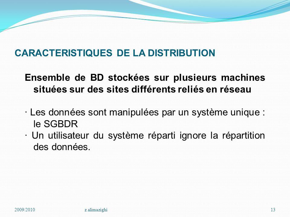 CARACTERISTIQUES DE LA DISTRIBUTION Ensemble de BD stockées sur plusieurs machines situées sur des sites différents reliés en réseau · Les données son