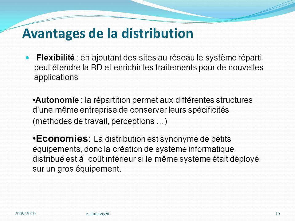 Avantages de la distribution Flexibilité : en ajoutant des sites au réseau le système réparti peut étendre la BD et enrichir les traitements pour de n