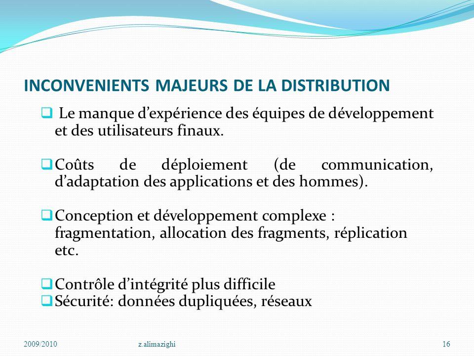 INCONVENIENTS MAJEURS DE LA DISTRIBUTION  Le manque d'expérience des équipes de développement et des utilisateurs finaux.  Coûts de déploiement (de