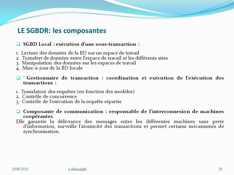 LE SGBDR: les composantes  SGBD Local : exécution d'une sous-transaction : 1. Lecture des données de la BD sur un espace de travail 2. Transfert de d