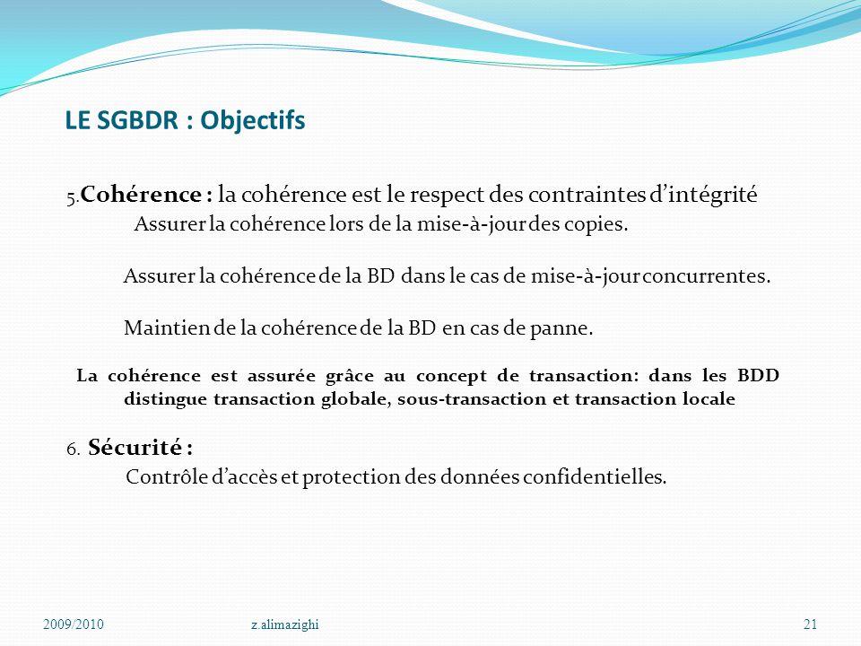 LE SGBDR : Objectifs 5. Cohérence : la cohérence est le respect des contraintes d'intégrité Assurer la cohérence lors de la mise-à-jour des copies. As