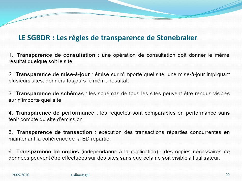 LE SGBDR : Les règles de transparence de Stonebraker 2009/2010z.alimazighi22 1. Transparence de consultation : une opération de consultation doit donn
