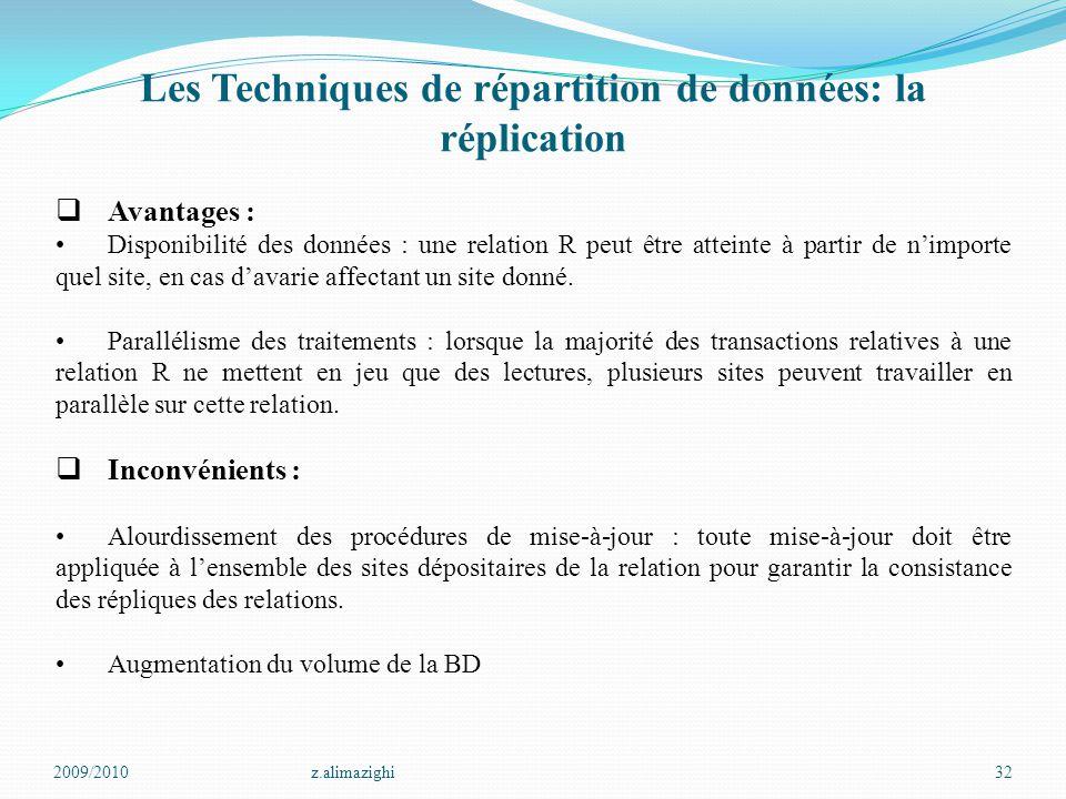 2009/2010z.alimazighi32 Les Techniques de répartition de données: la réplication  Avantages : Disponibilité des données : une relation R peut être at