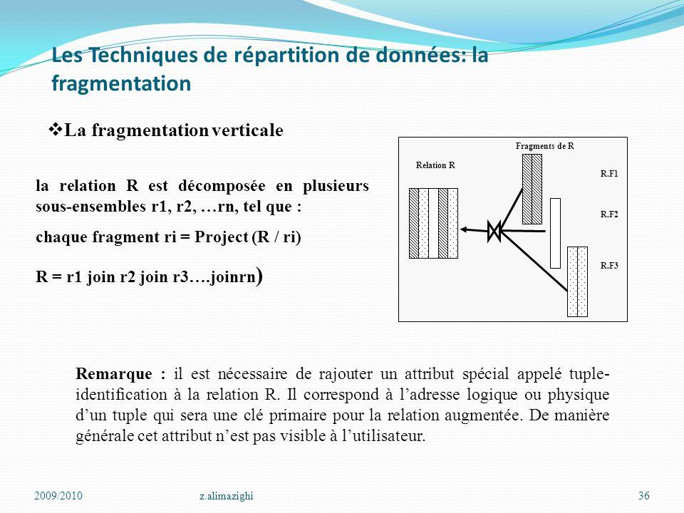 Les Techniques de répartition de données: la fragmentation 2009/2010z.alimazighi36 Relation R R.F1 R.F2 R.F3 Fragments de R  La fragmentation vertica