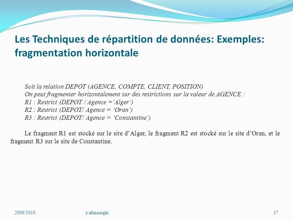 Les Techniques de répartition de données: Exemples: fragmentation horizontale 2009/2010z.alimazighi37 Soit la relation DEPOT (AGENCE, COMPTE, CLIENT,