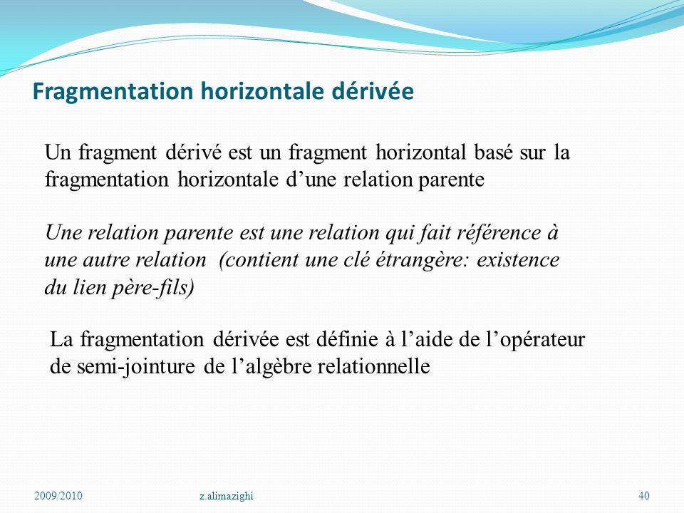 Fragmentation horizontale dérivée 2009/2010z.alimazighi40 Un fragment dérivé est un fragment horizontal basé sur la fragmentation horizontale d'une re