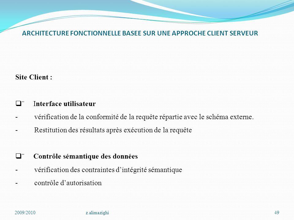 ARCHITECTURE FONCTIONNELLE BASEE SUR UNE APPROCHE CLIENT SERVEUR 2009/2010z.alimazighi49 Site Client :   Interface utilisateur - vérification de la