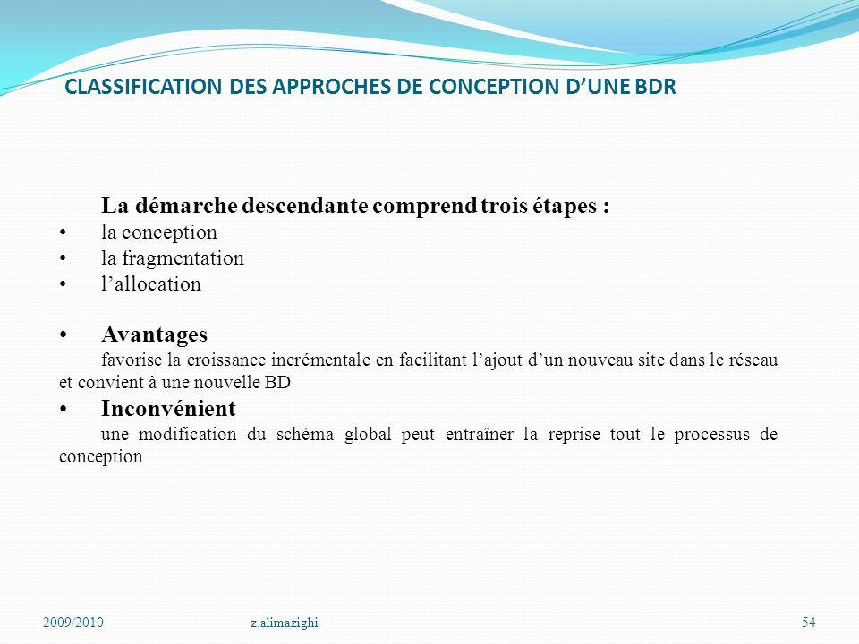 CLASSIFICATION DES APPROCHES DE CONCEPTION D'UNE BDR 2009/2010z.alimazighi54 La démarche descendante comprend trois étapes : la conception la fragment
