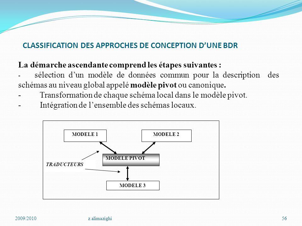 CLASSIFICATION DES APPROCHES DE CONCEPTION D'UNE BDR 2009/2010z.alimazighi56 La démarche ascendante comprend les étapes suivantes : - sélection d'un m