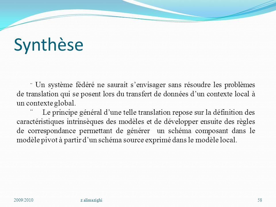 Synthèse 2009/2010z.alimazighi58  Un système fédéré ne saurait s'envisager sans résoudre les problèmes de translation qui se posent lors du transfert