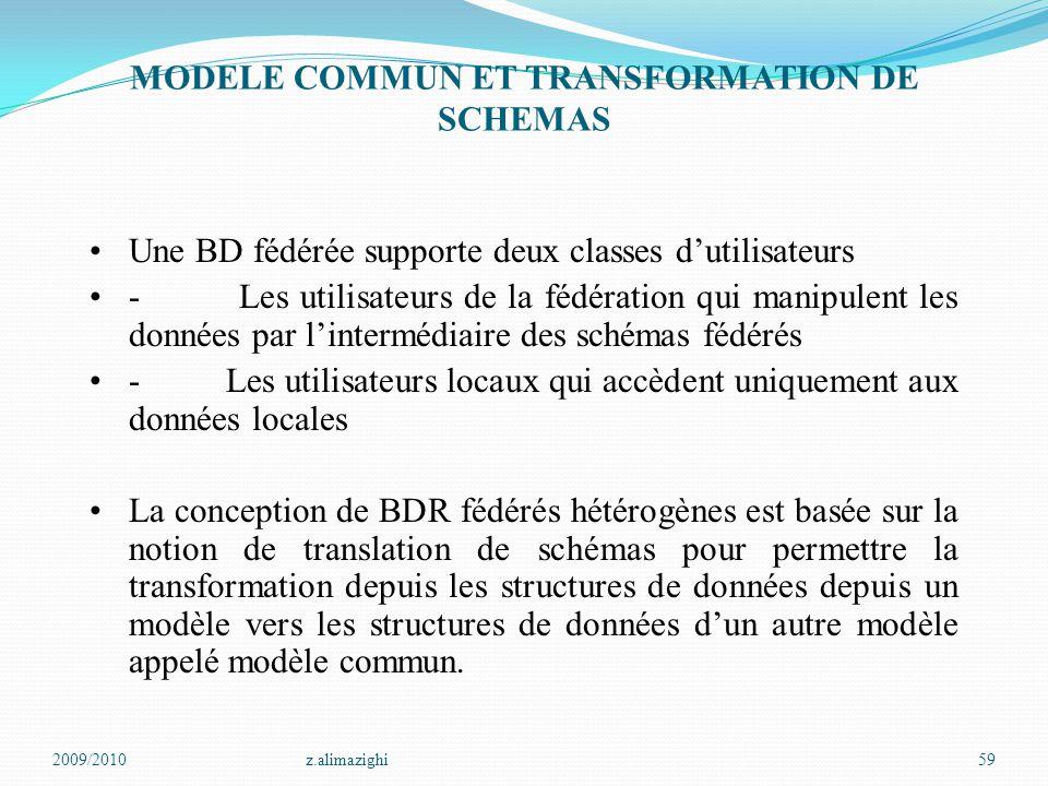 2009/2010z.alimazighi59 MODELE COMMUN ET TRANSFORMATION DE SCHEMAS Une BD fédérée supporte deux classes d'utilisateurs - Les utilisateurs de la fédéra