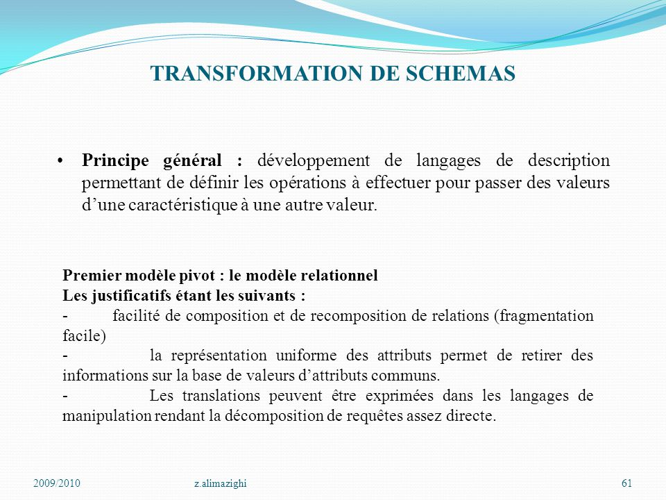 2009/2010z.alimazighi61 TRANSFORMATION DE SCHEMAS Principe général : développement de langages de description permettant de définir les opérations à e