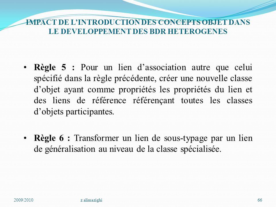 2009/2010z.alimazighi66 IMPACT DE L'INTRODUCTION DES CONCEPTS OBJET DANS LE DEVELOPPEMENT DES BDR HETEROGENES Règle 5 : Pour un lien d'association aut