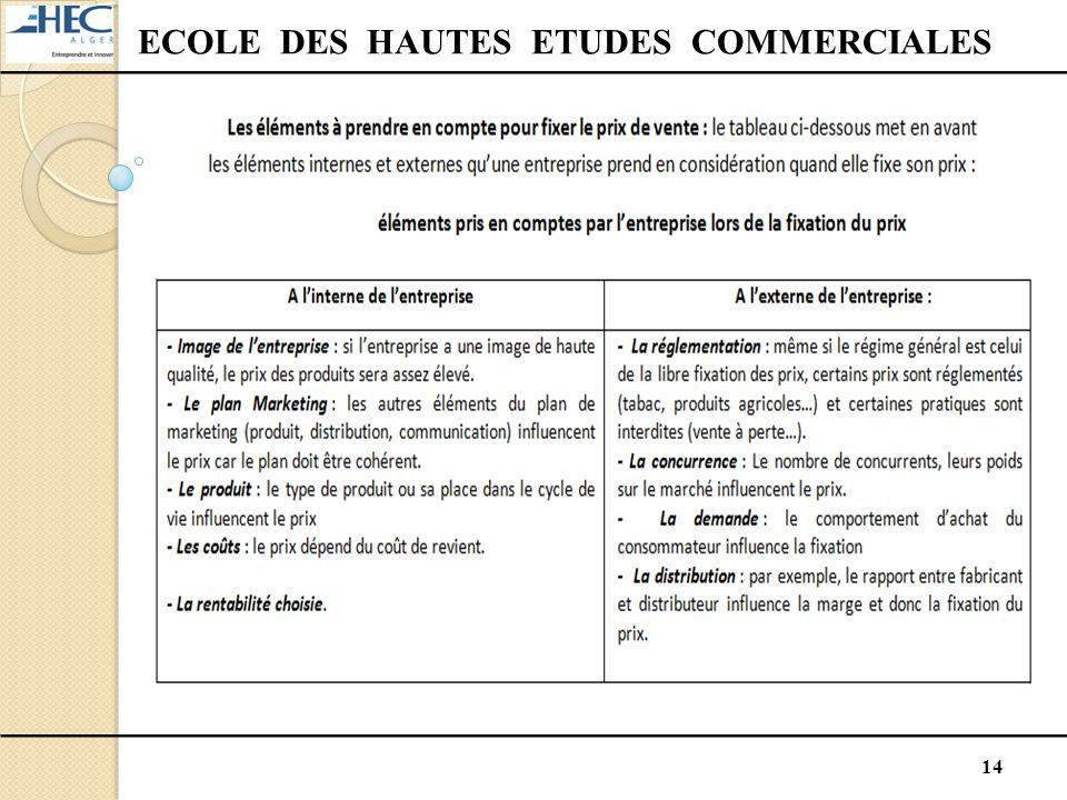 14 ECOLE DES HAUTES ETUDES COMMERCIALES