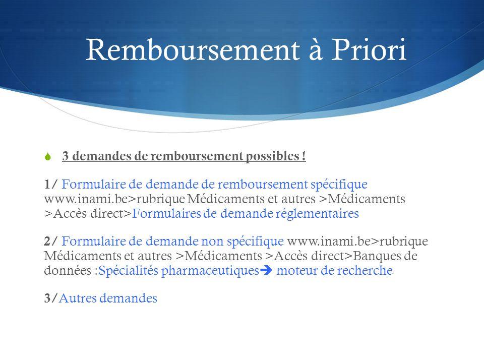 Remboursement à Priori  3 demandes de remboursement possibles .