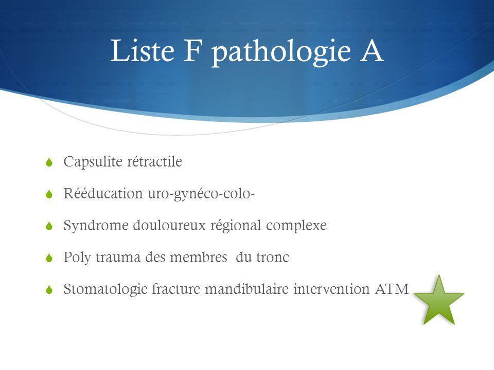Liste F pathologie A  Capsulite rétractile  Rééducation uro-gynéco-colo-  Syndrome douloureux régional complexe  Poly trauma des membres du tronc  Stomatologie fracture mandibulaire intervention ATM