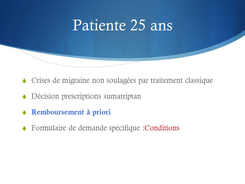 Patiente 25 ans  Crises de migraine non soulagées par traitement classique  Décision prescriptions sumatriptan  Remboursement à priori  Formulaire de demande spécifique :Conditions