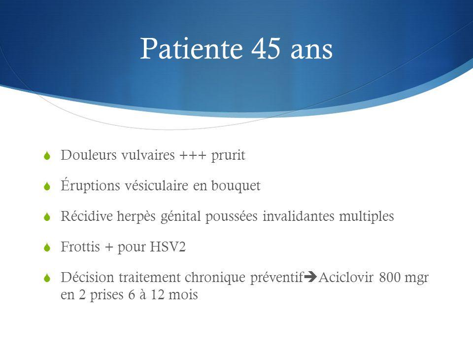 Patiente 45 ans  Douleurs vulvaires +++ prurit  Éruptions vésiculaire en bouquet  Récidive herpès génital poussées invalidantes multiples  Frottis + pour HSV2  Décision traitement chronique préventif  Aciclovir 800 mgr en 2 prises 6 à 12 mois