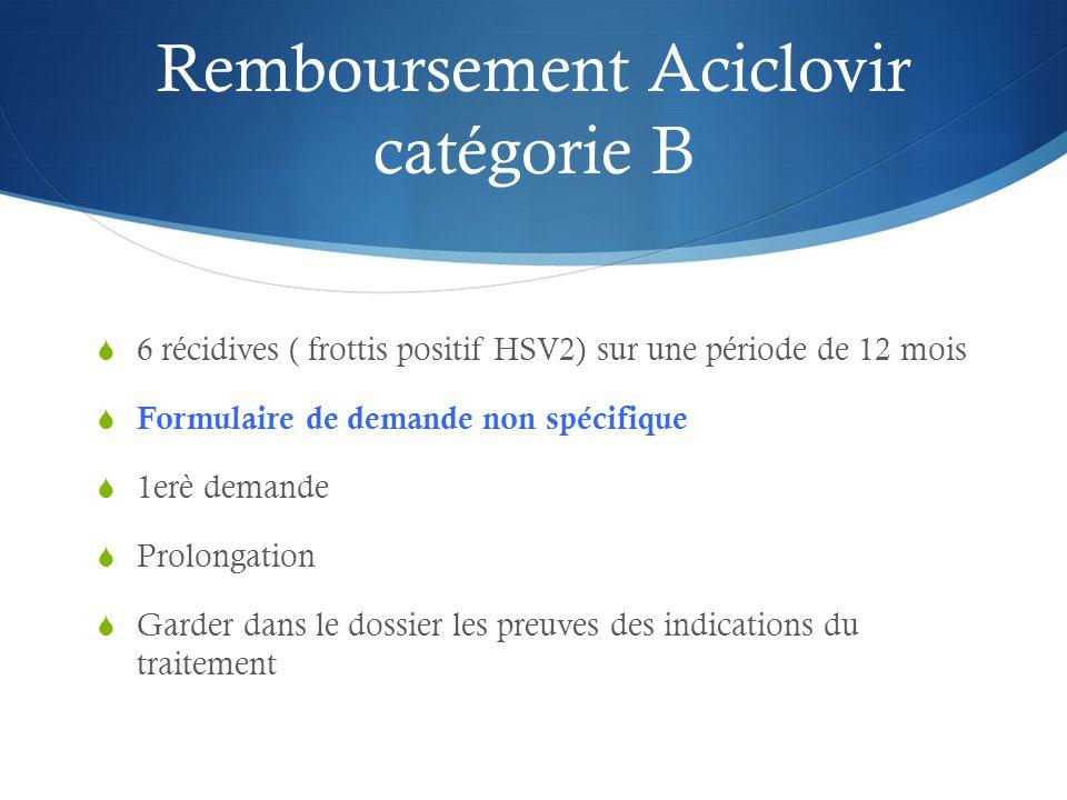 Remboursement Aciclovir catégorie B  6 récidives ( frottis positif HSV2) sur une période de 12 mois  Formulaire de demande non spécifique  1erè demande  Prolongation  Garder dans le dossier les preuves des indications du traitement