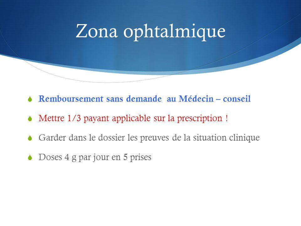 Zona ophtalmique  Remboursement sans demande au Médecin – conseil  Mettre 1/3 payant applicable sur la prescription .