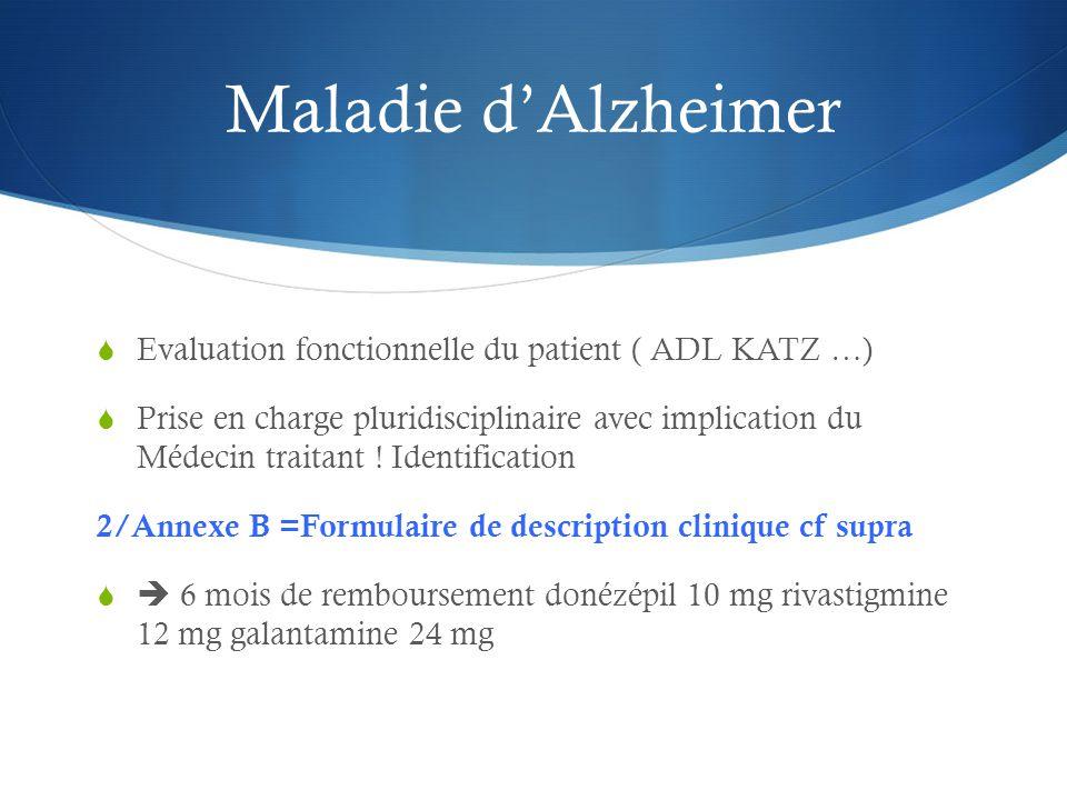 Maladie d'Alzheimer  Evaluation fonctionnelle du patient ( ADL KATZ …)  Prise en charge pluridisciplinaire avec implication du Médecin traitant .