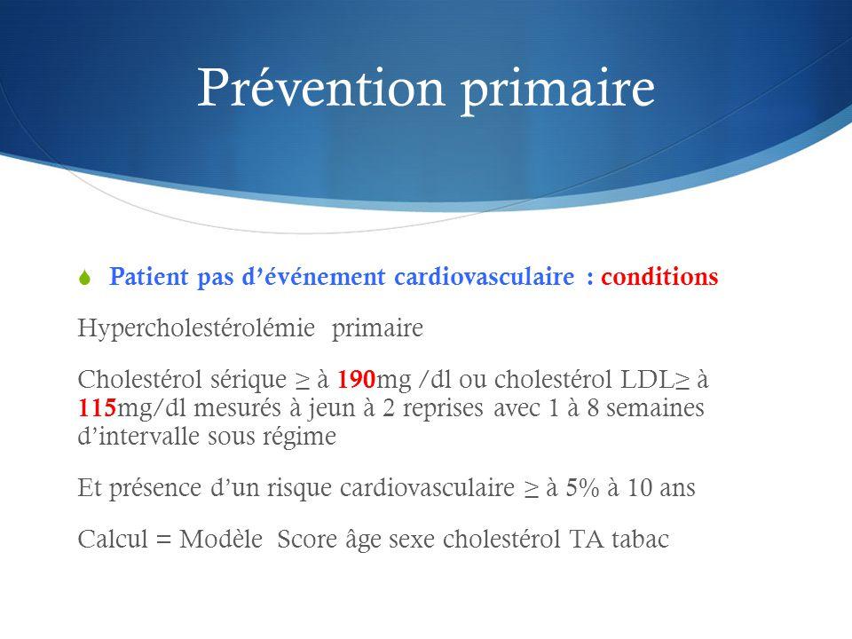 Prévention primaire  Patient pas d'événement cardiovasculaire : conditions Hypercholestérolémie primaire Cholestérol sérique ≥ à 190 mg /dl ou cholestérol LDL≥ à 115 mg/dl mesurés à jeun à 2 reprises avec 1 à 8 semaines d'intervalle sous régime Et présence d'un risque cardiovasculaire ≥ à 5% à 10 ans Calcul = Modèle Score âge sexe cholestérol TA tabac
