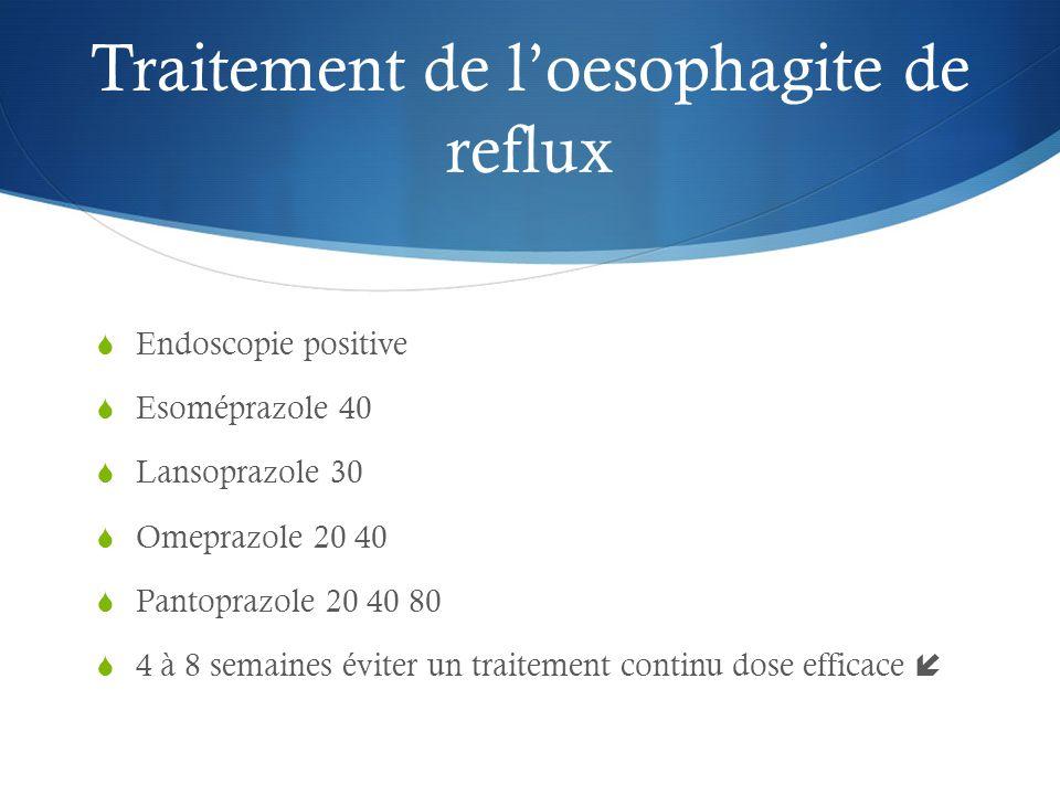 Traitement de l'oesophagite de reflux  Endoscopie positive  Esoméprazole 40  Lansoprazole 30  Omeprazole 20 40  Pantoprazole 20 40 80  4 à 8 semaines éviter un traitement continu dose efficace 