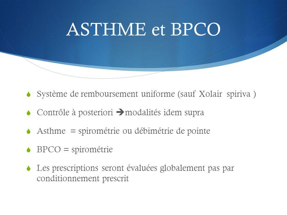 ASTHME et BPCO  Système de remboursement uniforme (sauf Xolair spiriva )  Contrôle à posteriori  modalités idem supra  Asthme = spirométrie ou débimétrie de pointe  BPCO = spirométrie  Les prescriptions seront évaluées globalement pas par conditionnement prescrit