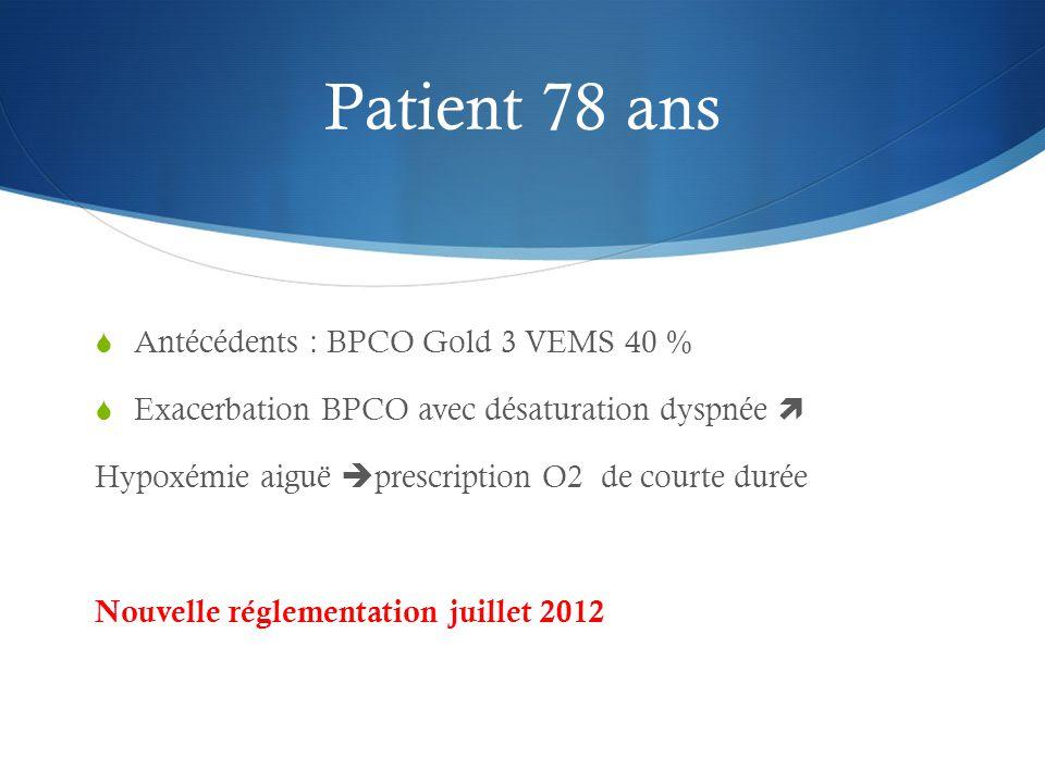 Patient 78 ans  Antécédents : BPCO Gold 3 VEMS 40 %  Exacerbation BPCO avec désaturation dyspnée  Hypoxémie aiguë  prescription O2 de courte durée Nouvelle réglementation juillet 2012
