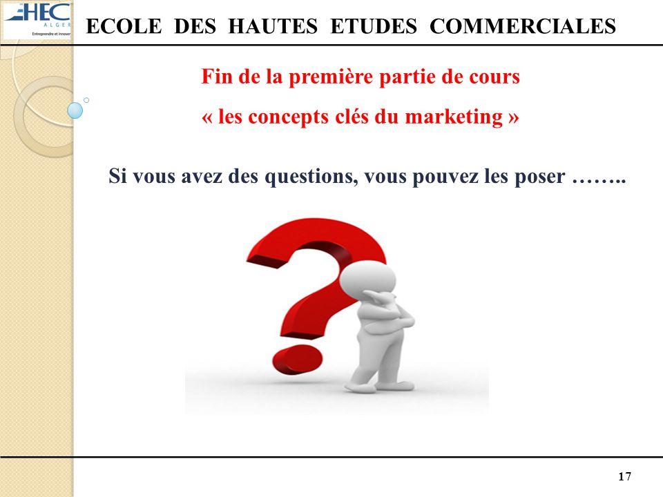 17 ECOLE DES HAUTES ETUDES COMMERCIALES Fin de la première partie de cours « les concepts clés du marketing » Si vous avez des questions, vous pouvez