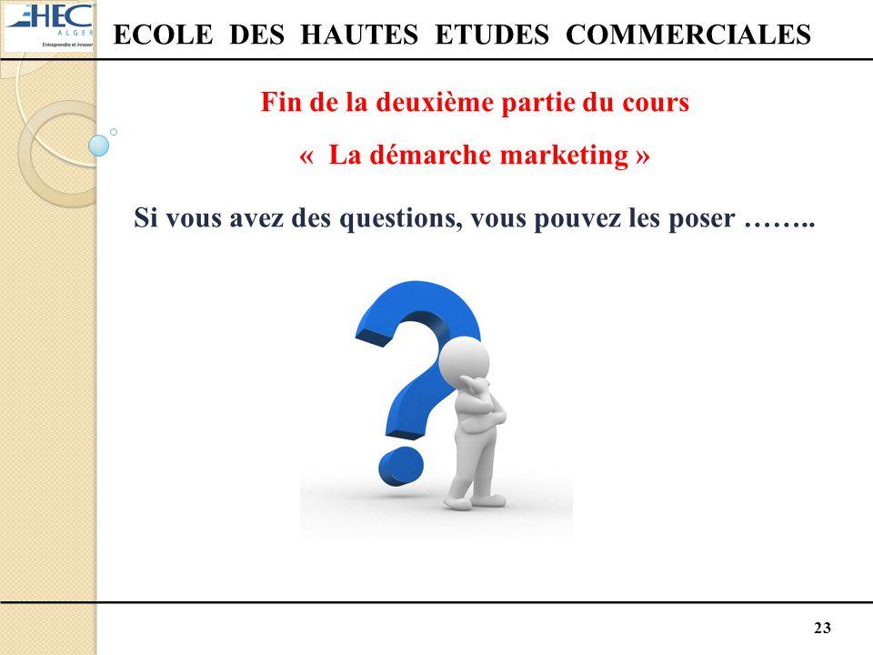23 ECOLE DES HAUTES ETUDES COMMERCIALES Fin de la deuxième partie du cours « La démarche marketing » Si vous avez des questions, vous pouvez les poser