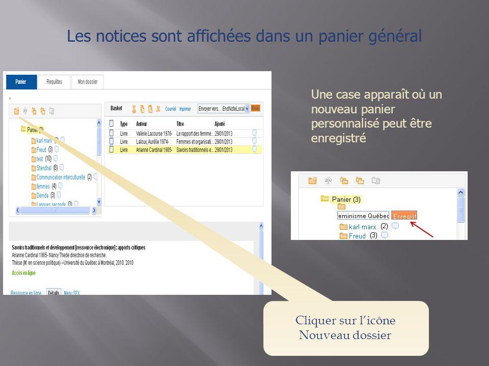 Les notices sont affichées dans un panier général Une case apparaît où un nouveau panier personnalisé peut être enregistré Cliquer sur l'icône Nouveau dossier