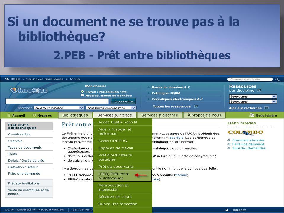 Si un document ne se trouve pas à la bibliothèque 2.PEB - Prêt entre bibliothèques