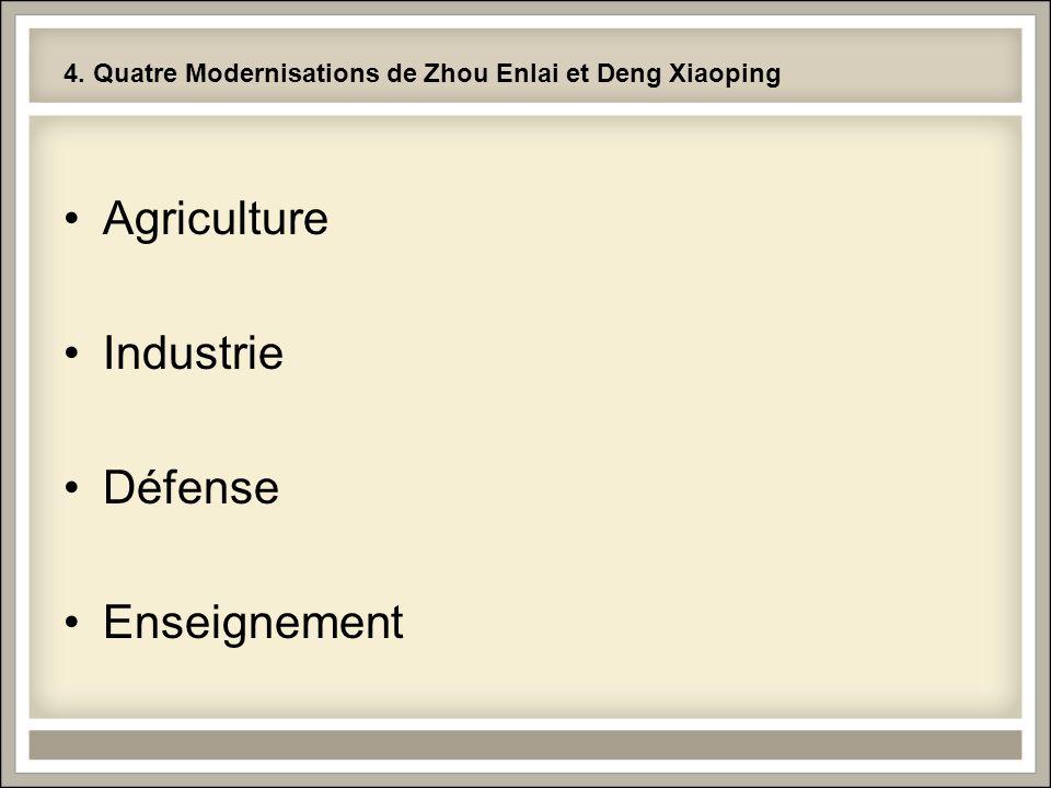 4. Quatre Modernisations de Zhou Enlai et Deng Xiaoping Agriculture Industrie Défense Enseignement