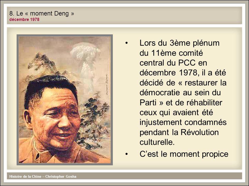 Lors du 3ème plénum du 11ème comité central du PCC en décembre 1978, il a été décidé de « restaurer la démocratie au sein du Parti » et de réhabiliter