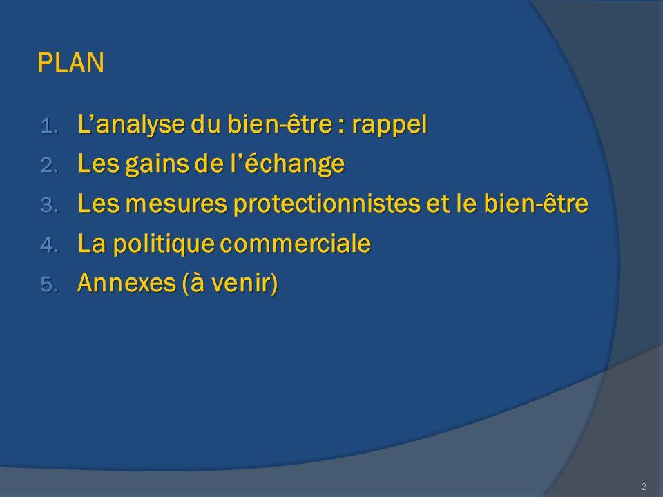 PLAN 1. L'analyse du bien-être : rappel 2. Les gains de l'échange 3. Les mesures protectionnistes et le bien-être 4. La politique commerciale 5. Annex