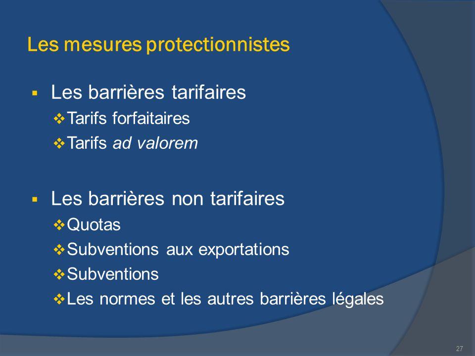 Les mesures protectionnistes  Les barrières tarifaires  Tarifs forfaitaires  Tarifs ad valorem  Les barrières non tarifaires  Quotas  Subvention