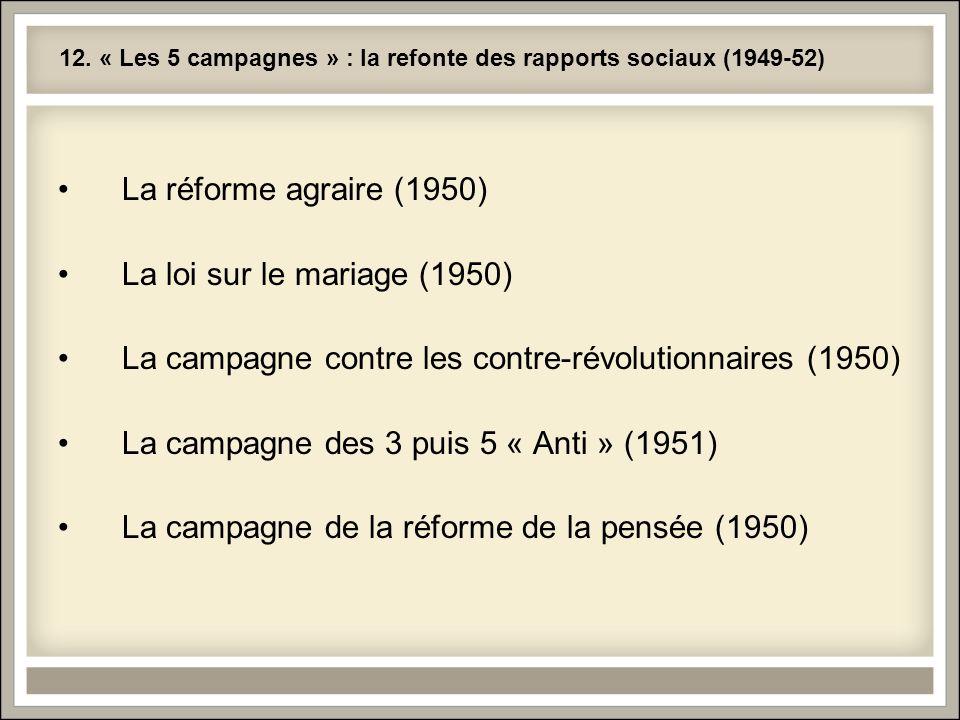 12. « Les 5 campagnes » : la refonte des rapports sociaux (1949-52) La réforme agraire (1950) La loi sur le mariage (1950) La campagne contre les cont